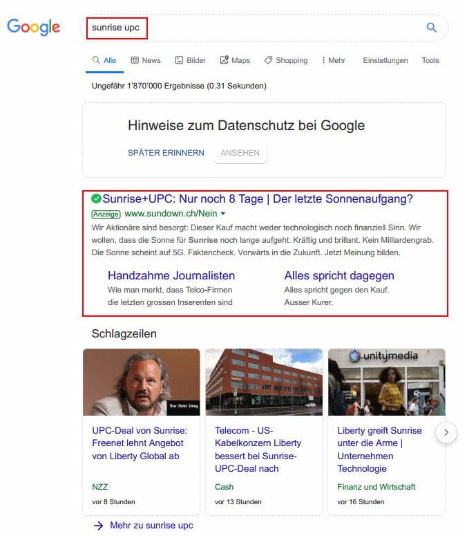 Innert fünf Tage ist die Kampagne von 60francs.ch in allen Medien und auf oberster Position bei Google.ch
