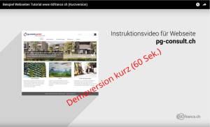 Webseite mit Instruktionsvideo (Tutorial)